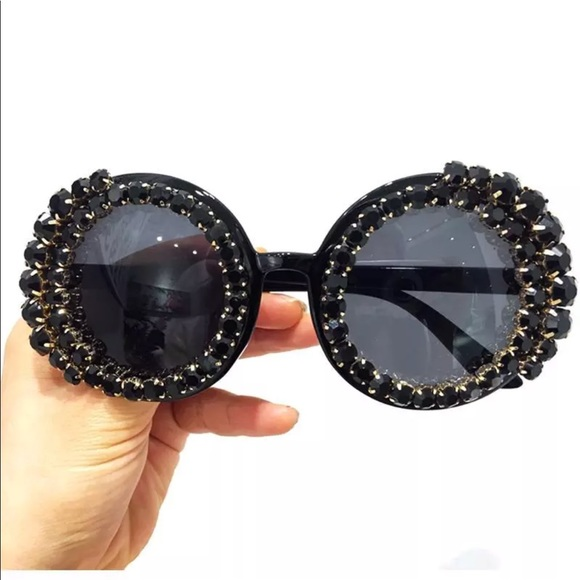 94214e72d Accessories | Black Round Circle Oversized Crystal Sunglasses | Poshmark